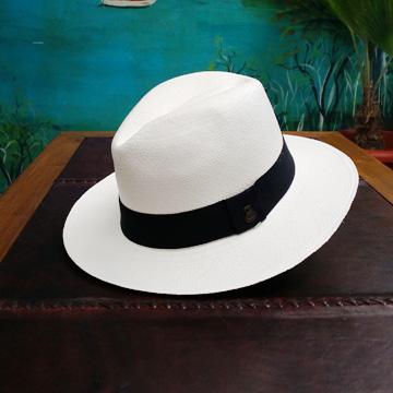 Panama blanc bande noire